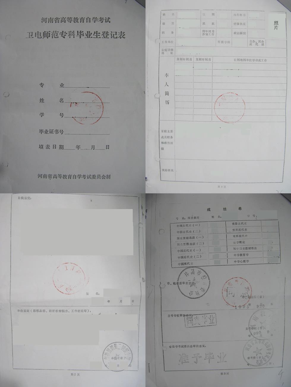 6,个人档案中的毕业生登记表复印件( ).